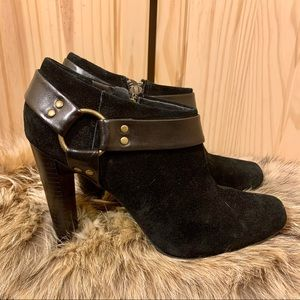 💋 Jessica Simpson Black Suede Heeled Ankle Boots